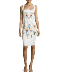 Roland Mouret Sleeveless Floral Print Halter Sheath Dress Iris