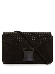 Christopher Kane Devine Large Suede Cross Body Bag Black