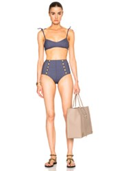 Lisa Marie Fernandez Nicole High Waisted Bikini In Blue