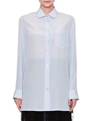 Valentino Striped Draped Back Blouse Blue Multi Blue White