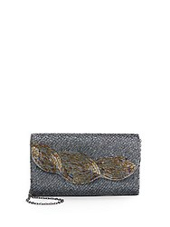 Saks Fifth Avenue Beaded Clutch Gunmetal