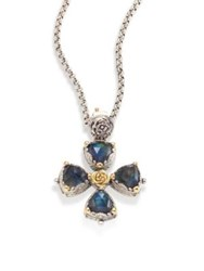 Konstantino Cassiopeia Doublet Spectrolite 18K Yellow Gold And Sterling Silver Cross Pendant Multi