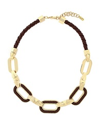 Cole Haan Signature Leather Chain Link Necklace Black
