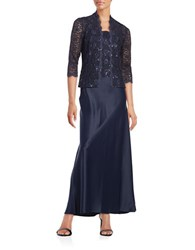 Alex Evenings Two Piece Lace Gown And Jacket Set Midnight