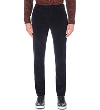 Boglioli Regular Fit Tapered Corduroy Trousers Navy