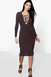 Boohoo Lace Up Side Detail Plunge Neck Midi Dress Black