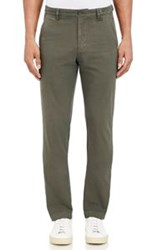 Barneys New York Brushed Twill Chinos Green
