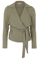 Short Belted Trench Jacket By Wal G Khaki
