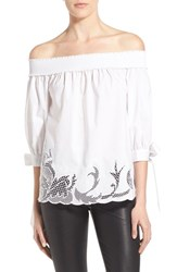 Chelsea 28 Women's Chelsea28 Off The Shoulder Cutout Shirt White