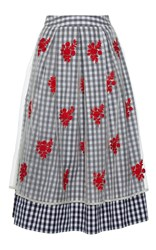 Rahul Mishra Pleated Gingham Skirt Blue