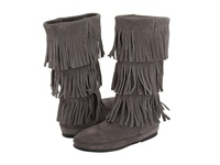 Minnetonka Calf Hi 3 Layer Fringe Boot Grey Women's Pull On Boots Gray