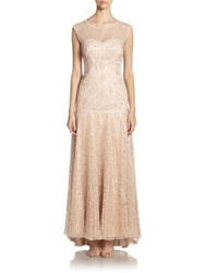 Sue Wong Soutache Embroidered Gown Antique Champagne