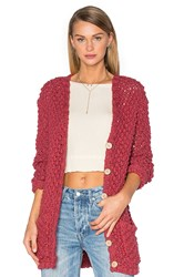 For Love And Lemons Knitz Mulberry Cardigan Red