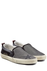 Golden Goose Slip On Sneakers With Leather Silver