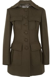 Prada Wool Blend Felt Coat Army Green
