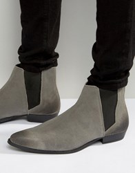 Asos Pointed Chelsea Boots In Grey Suede Grey