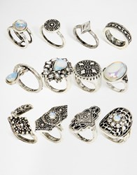 New Look 12 Pack Of Statement Rings Silver