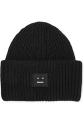 Acne Studios Pansy Appliqued Ribbed Wool Beanie Black