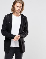 Asos Laddered Open Cardigan In Wool Mix Black