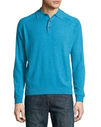 Neiman Marcus Cashmere Three Button Polo Sweater Turquoise