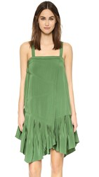 Tibi Pleated Strappy Dress Vine Green