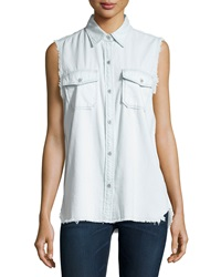 Current Elliott The Fray Sleeveless Perfect Chambray Shirt Summer Storm