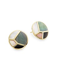 Ippolita Polished Rock Candy Brown Shell Mother Of Pearl Onyx And 18K Yellow Gold Mosaic Button Earrings Gold Multi
