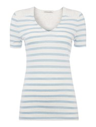 Oui Stripe Tee With Lace Insert Navy And White