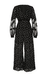 Self Portrait Daisy Dot Long Sleeve Jumpsuit Print