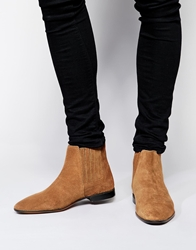 Asos Chelsea Boots In Suede Tan
