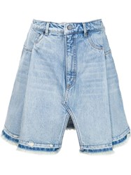T By Alexander Wang Distressed Denim Skirt Blue