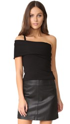 Michelle Mason Asymmetrical Strap Top Black