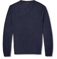 J.Crew Cotton Cashmere Knitted Sweater Blue