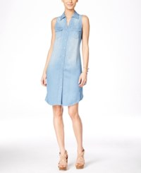 Inc International Concepts Sleeveless Denim Shirt Dress Only At Macy's Indigo