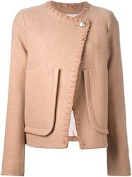 See By Chloe Asymmetrical Patch Pocket Jacket Nude And Neutrals