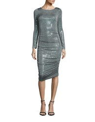 Vince Camuto Ruched Long Sleeved Sequin Bodycon Dress Light Grey