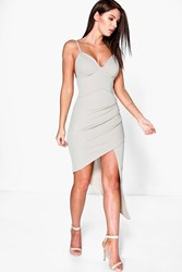 Boohoo Detail Strappy Bodycon Dress Taupe