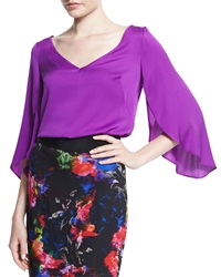 Milly Silk V Neck Butterfly Sleeve Blouse Purple
