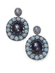 Bavna Champagne Diamond Sapphire Aquamarine And Sterling Silver Oval Drop Earrings Sapphire Aquamarine