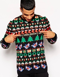 Asos Christmas Jumper With All Over Design Black
