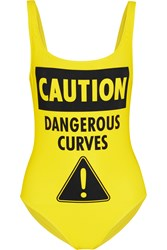 Moschino Caution Dangerous Curves Printed Swimsuit