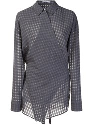 Alexander Wang T By Checked Wrap Style Shirt Grey