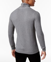 Sean John Men's Cable Knit Shawl Collar Sweater Navy