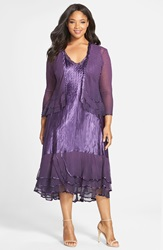 Komarov Embellished Sleeveless Charmeuse Dress And Chiffon Jacket With Tiered Hem Plus Size Deep Purple Night Ombre