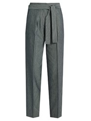 Trademark Tie Waist Wide Leg Twill Trousers Navy White