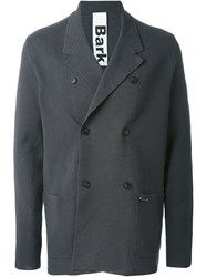 Bark Double Breasted Knit Blazer Grey