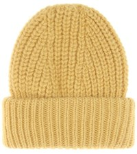 Acne Studios Hoy Wool And Mohair Blend Knitted Hat Yellow