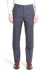 Men's Michael Kors Flat Front Check Wool Trousers Grey Blue