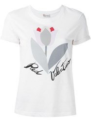 Red Valentino Flower Print T Shirt White