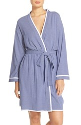 Women's Eileen West Stripe Jersey Short Wrap Robe